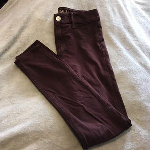American Eagle Wine Colored Stretchy Jeggings